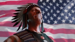 American  Indian chief on the background of the flag of America, 3D render Stock Footage