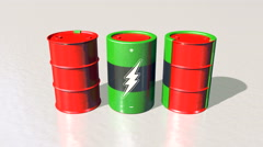 Oil drums morph into electric batteries, 3D animation Stock Footage