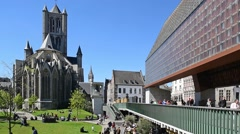 Saint Nicholas' church and the Gentse Stadshal in Ghent, Belgium Stock Footage