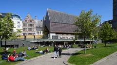 The modern Gentse Stadshal / Ghent Market Hall in Ghent, Belgium - stock footage