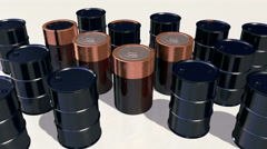 Oil drums morph into electric batteries, 3D animation - stock footage