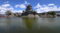 Panning shot of Matsumoto castle in spring, Nagano, Japan - stock footage
