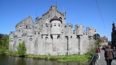 The medieval Gravensteen / castle of the counts in Ghent, Belgium Stock Footage