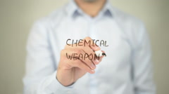 Chemical Weapons , man writing on transparent screen Stock Footage