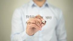 Terrorism Has No Religion , man writing on transparent screen Stock Footage