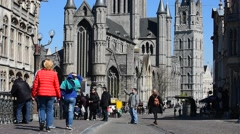 The Saint Nicholas' church and belfry in Ghent, Flanders, Belgium - stock footage