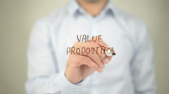 Value Proposition , man writing on transparent screen Stock Footage