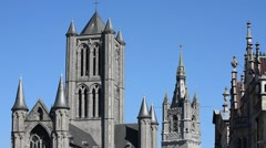 The Saint Nicholas' church and belfry in Ghent, Flanders, Belgium Stock Footage