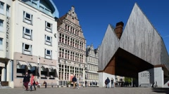 The modern Gentse Stadshal / Ghent Market Hall in Ghent, Belgium Stock Footage