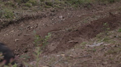 ATV racing on dirt track at spring Stock Footage