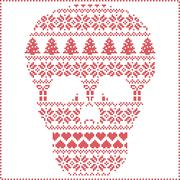 Winter pattern sugar skull on white background Stock Illustration