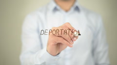 Deportation , man writing on transparent screen Stock Footage