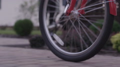 Spinning wheel of a bicycle - stock footage
