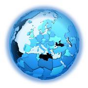 Europe on translucent Earth Stock Illustration