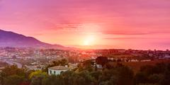 Sunset Over Mountains And Spanish Town. Cityscape. Panorama Stock Photos