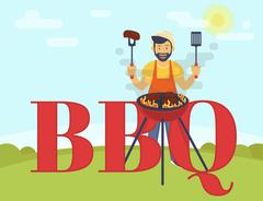 BBQ cooking party - stock illustration