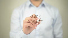 Black Market , man writing on transparent screen Stock Footage