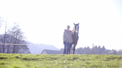 Woman posing with horse in middle of lawn on bright sunny day 4K Stock Footage