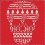winter pattern sugar skull on red background - stock illustration