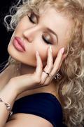 Style, fashion, manicure, cosmetics and make up. Beautiful plump lips makeup and - stock photo