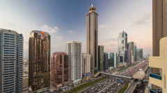 Downtown Dubai towers day to night timelapse. Aerial view of Sheikh Zayed road - stock footage