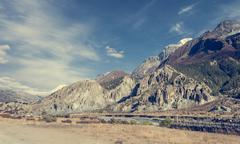 Idyllic mountein valley on a trekking path around Annapurnas. - stock photo