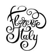 Black and white hand writing Florence Italy inscription, vector Stock Illustration