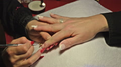 Nails Polishing With Brush in Beauty Salon Stock Footage