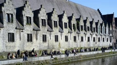 Tourists at the Groot Vleeshuis / Big Butchery in Ghent, Belgium Stock Footage