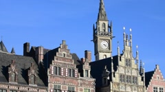 Medieval step-gabled houses at the Graslei / Grass Lane in Ghent, Belgium Stock Footage