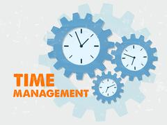 time management with clocks in grunge flat design gears - stock illustration