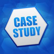case study in hexagon over blue background, flat design - stock illustration