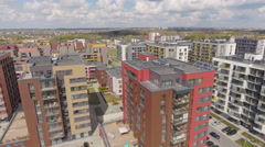 Typical modern sleeping district, residential buildings, complexes, aerial view Stock Footage