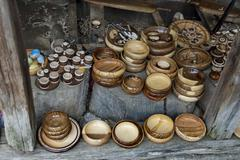 Retail shop in workshop for wooden hand-made souvenir Stock Photos