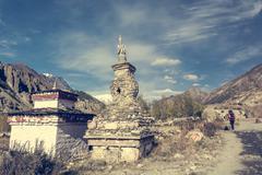 Buddhist stupa along Annapurna trek. Stock Photos