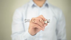 Sales Lead , man writing on transparent screen - stock footage