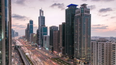 Downtown Dubai towers day to night timelapse. Aerial view of Sheikh Zayed road Stock Footage