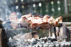 Healthy barbecued lean cubed pork kebabs - stock photo