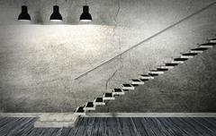 Dark old room and staircase interior in minimal style - stock illustration