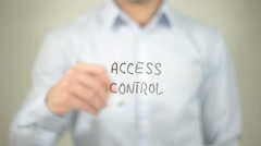 Access Control , man writing on transparent screen Stock Footage