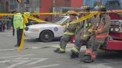 Girl Reaction To Crime Scene Firemen Police Line Stock Footage