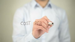 Cost Per Lead , man writing on transparent screen - stock footage