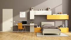 Brown and orange teenage boy bedroom - stock illustration