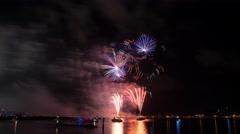 4K - SunFest Fireworks Time Lapse Video Stock Footage