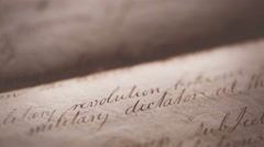Vintage 1800's hand written document Background footage Stock Footage