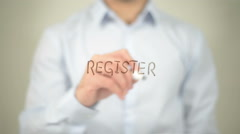 Register , man writing on transparent screen Stock Footage