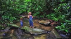 Little Boys Fishing In Mountain Creek - stock footage