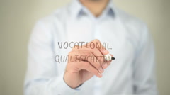Vocational Qualification ,  man writing on transparent screen Stock Footage
