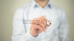 Disqualified , man writing on transparent screen Stock Footage