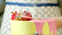 Decorated cake with logo on the table Stock Footage